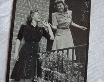1940s Lyttons Advertising Postcard Ladies Modeling Dresses