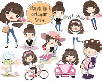 Brown hair girl clipart set 4 ,girl stickers clipart instant download PNG file - 300 dpi