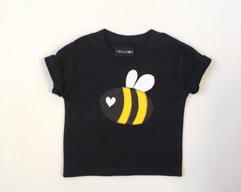 Skeletots black baby bee t-shirt rockabilly baby t-shirt goth Rock metal 0-3m to 6-12m
