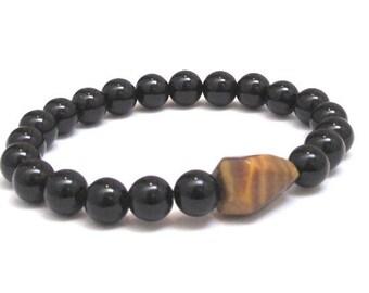 Men Beaded Bracelet, Tiger Eye Onyx Energy Healing Crystals, Men Mala Bracelet, Worry Beads Chakra Yoga Bracelet Talisman Protection Jewelry