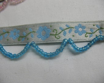 Ribbon with Flowers and Beads in - BLUE
