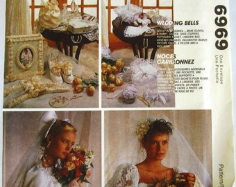 Bridal Accessories: Garter,Drawstring Bag, Ring Pillow, Hanky, Long and Short Gloves, Sachets, Padded Hanger McCalls Pattern 6969 UNCUT