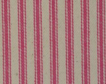 Vintage Inspired Petal Pink Woven Cotton Ticking Stripe Material 1 Yard