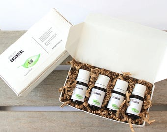 Mint Essential Oil Set - Peppermint, Spearmint, Wintergreen and Japanese Mint Essential Oils. Mint Essential Oil Kit.  Fresh Minty Scents.