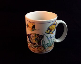 Vintage ocean fish coffee mug - fishing coffee cup - gifts for fishermen