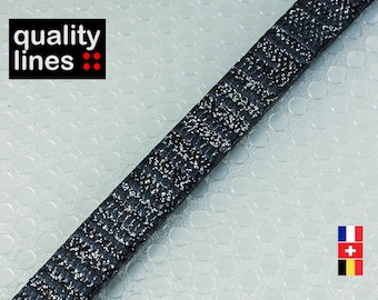 X 18 CM - 10 mm flat leather / 2.50 mm black silver (18 cm is sufficient to make a bracelet until ' size XL))