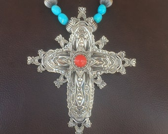 Cruz de Nuestro Padre Cross of Our Father Large Sterling Silver Multi Overlay Cross Mediterranean Coral