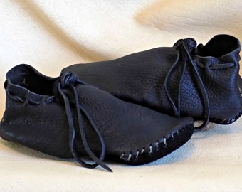 Handmade Leather Viking Shoes, Custom Hand Sewn to Order, Black Elk Hide Shoes, Soft Natural Buffalo Sole
