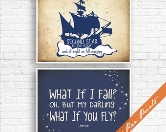 What if I Fall, What if you Fly And Second Star to Right - Set of 2 Art Prints (Unframed) (Navy on Treasure Map) Peter Pan Prints