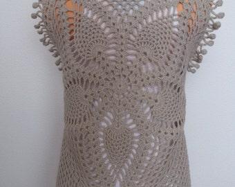 Crochet vest pattern, Pineapple top crochet pattern, Crochet vest with fringe, pdf download vest pattern, Pentagon pineapple top pattern