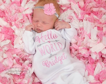 Newborn Girl Coming Home Outfit Baby Girl Coming Home Outfit Newborn Girl Clothes Baby Girl Outfit Baby Girl Clothes Hello World Outfit