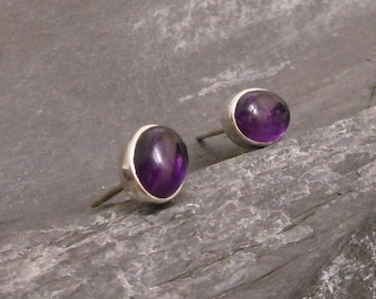 Amethyst ear studs - 925 Sterling Silver amethyst earrings -
