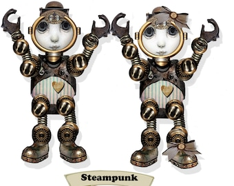 printable steampunk robot paper dolls articulated puppets with  special banners craft project collage sheet