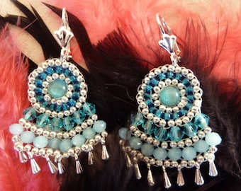 Dangling pearls embroidered blue earrings