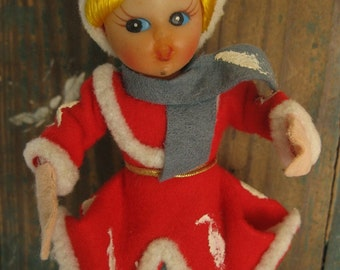Vintage Christmas Skating Figure With Red Outfit Edged With Fur, Red Figure Skates, Japan