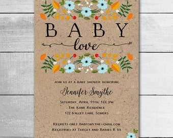Rustic Baby Shower Invitation / Fall Baby Shower / Baby Love Blue / PRINTABLE INVITATION / 91056