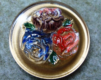 Czech Glass Button 27mm - hand painted - roses, gold (B27348)