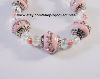 Indian Kashmiri or Bollywood and Pearl Beaded Bracelet and Earrings