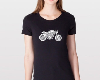 KillerBeeMoto: Limited Release MotoLady's Custom Monster Cafe Racer Womens Cut Motorcycle T-Shirt