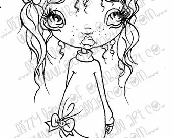 INSTANT DOWNLOAD Digi Stamp Digital Image Cute Big Eye Chibi Girl Alex Image No.172 & 172B by Lizzy Love