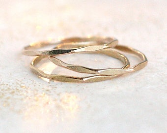 stacking rings. THREE gold filled, rose gold filled or sterling silver stackable rings. minimalist rings. hammered textured ring. stack ring