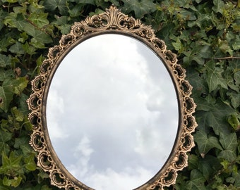 Vintage Gold Small Oval Mirror - Small metal mirror