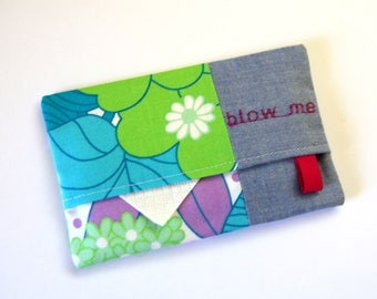 Floral Travel Tissue Holder, Pocket Tissue Case, Tissue Pouch, Blow Me Tissue Pouch, Tissue Cozy, Travel Tissue Case, Funny Gift