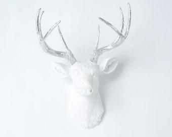 Deer Head Wall Mount - White Deer with Silver Antlers - Faux Taxidermy Deer Head Wall Mount - Bedroom Decor D0110