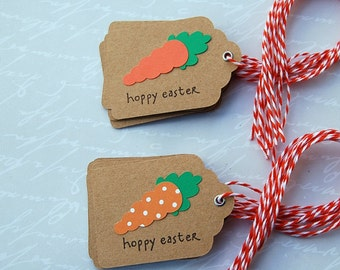 easter kraft tag carrot tag treat bag gift tag set of 12 silver eyelet orange white bakers twine kraft tag