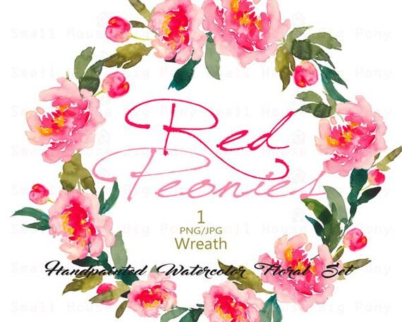 Digital Clipart- Watercolor Flower Clipart, peonies Clip art, Floral Bouquet Clipart, wedding flowers clip art- Red Peonies Wreath