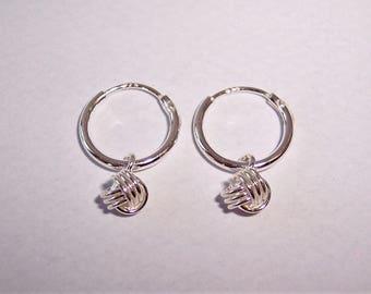 Sterling Silver 10mm Knot Charm Hoop Earrings.
