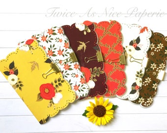 Fabulous in Fall Scalloped Edge Planner Insert Covers/Dashboard for Traveler's Notebooks- available in different sizes