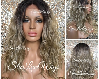 Lace Front Wig - Sandy Blonde - Ash Blonde - Champagne Blonde - Dark Roots - Wavy - Layers - Swiss Lace - Heat Resistant Safe