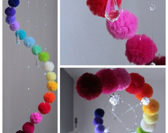 Colorful Baby Mobile For Nursery, Rainbow Decor for Baby Room, Hanging Mobile with Crystals, Neutral Mobile for Girl and Boy, Wedding Decor