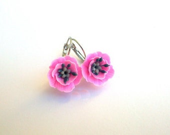 Pink flower earrings Pink poppies Floral jewelry Summer earrings Handmade polymer jewelry Gift for her Jewelry gift