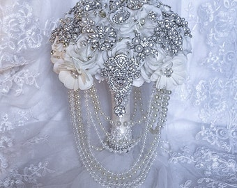 Vintage Brooch Bouquet. FULL PRICE White Ivory Silver Silk Roses Flower Broach Bouquet. Art Deco Great Gatsby.