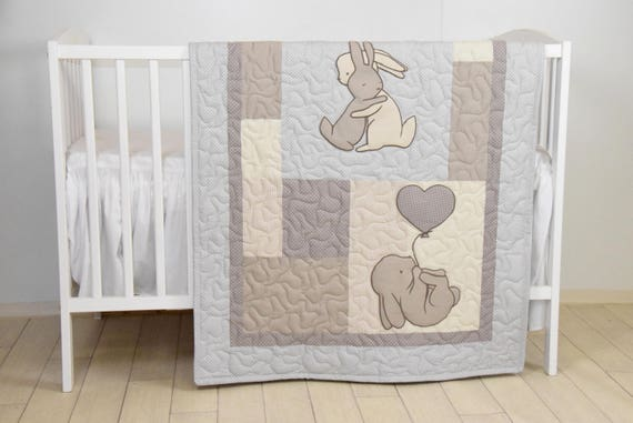Bunny Baby Crib Quilt, Rabbit Blanket, Neutral Bunnies Bedding for Baby Boy or Baby Girl, Beige, Ivory, Gray