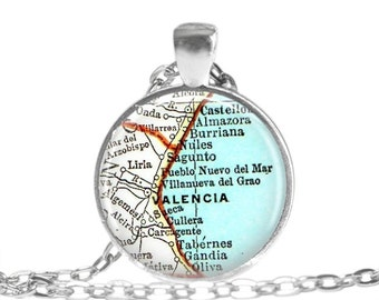 Valencia necklace pendant charm: Spain map jewelry charms, Spain photo pendant. Available as Travel Keychain, Anniversary Keychain, A287