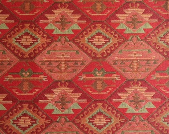 Ethnic Tribal Style Upholstery Fabric, Double-faced Cloth, Aztec Navajo Fabric, Geometric Kilim Fabric, Home Decor Tapestry, Red, Ycp-024