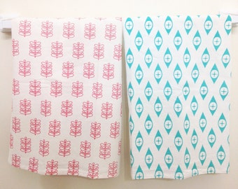 Tea Towel Set: Modern Patterns in Aqua and Pink, Pyrex Stems and Eyes Tea Towel Set