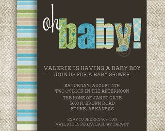 """BOY BABY SHOWER Invitations """"Oh Baby"""" Digital diy Printable Personalized Blue - 81442722"""