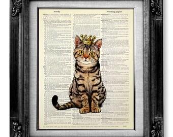 Cat Decor, CAT Painting, TABBY Cat Wall Art Cat Lover Gift, Cat Wall Decor, WHIMSICAL Cat Art, Cool Cat Artwork Cat Poster, Sitting Cat King