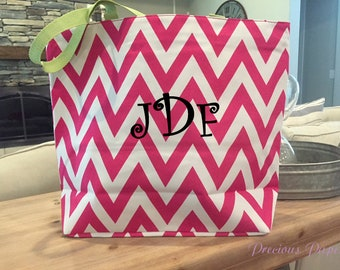 Personalized monogrammed pink and white chevron tote bag, Chevron beach bag, monogrammed beach bag, monogrammed gift