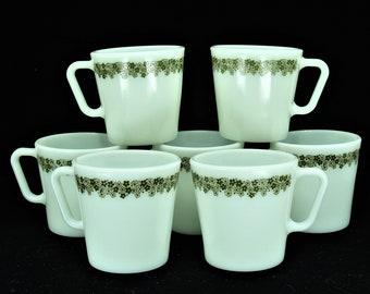 7 Pyrex Spring Blossom Milk Glass D Handle Mugs Green Flowers