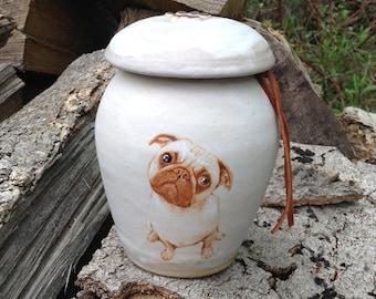 Pug Urn Pet Cremation Urn for Dog Up to 20 lbs or Keepsake Urn
