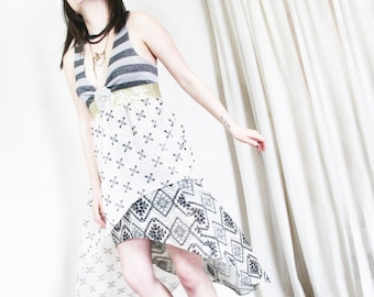 upcycled dress - S - upcycled womens clothing, high low racer back dress . i got sunshine