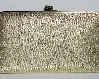 1960s Purse La Regale Clutch Gold Lame NOS Deadstock