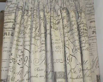 PAIR Drapery Panels-Document Scripte on cotton LINED