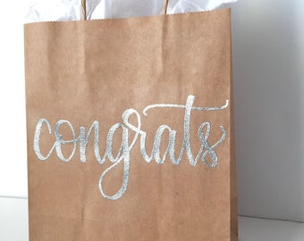Congrats Gift Bag, Congratulations Gift, Hand Lettered Gift Bag, Embossed Gift Bag, Graduation Gift, Baby Shower Gift, Engagement Party Gift