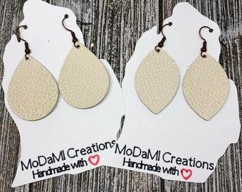 2 in, pebbled cream and beige, leather earrings, handmade earrings, nickle free, drop earrings, dangle earrings, lightweight